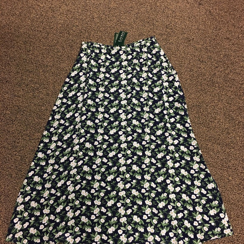 Silk Floral Skirt, NavyMult, Size: 8.  Aline skirt with cute flowers in cream/grey a hint of yellow and green leaves on a navy background.  A great skirt for work or a gathering.  Social distancing of course:)