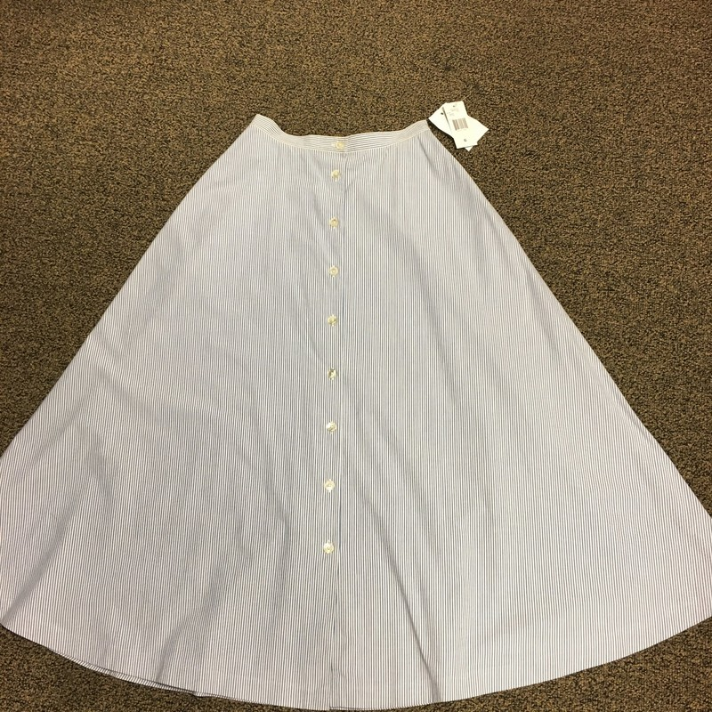 Striped Button Flair Skir, Blue/wht, Size: 6.  Classic Lauren with this vintage feel skirt.  Cute.