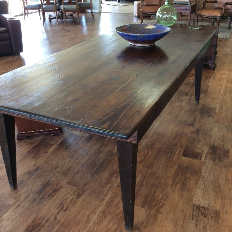 BARGAIN ALERT!!! This sturdy farmhouse table was custom built 20 years ago. It is solid wood and has a dark walnut finish. It is 8 feet long and very HEAVY. ONLY $595!