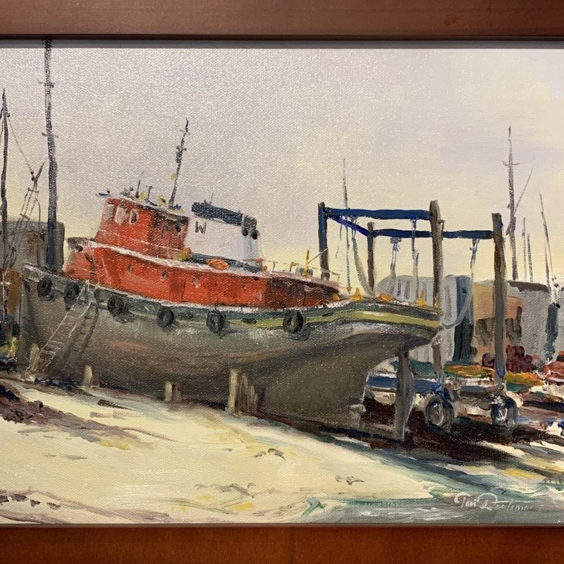 "Title: Tug, Artist: Tom Duntemann, Medium: Oil, Size: 13""x10\"" Framed"