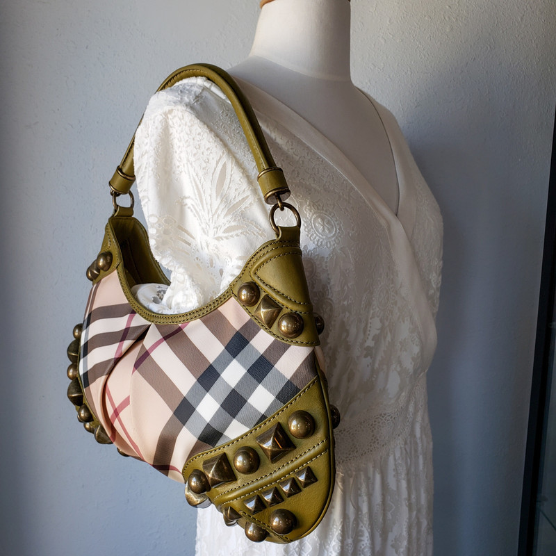 Burberry Studded Nickie<br /> Chartreuse and Nova<br /> Satchel