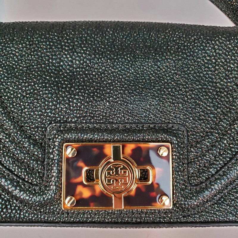 Tory Burch Stingray<br /> Original Retail $458<br /> Green and Black<br /> Crossbody<br /> Comes with Dustbag
