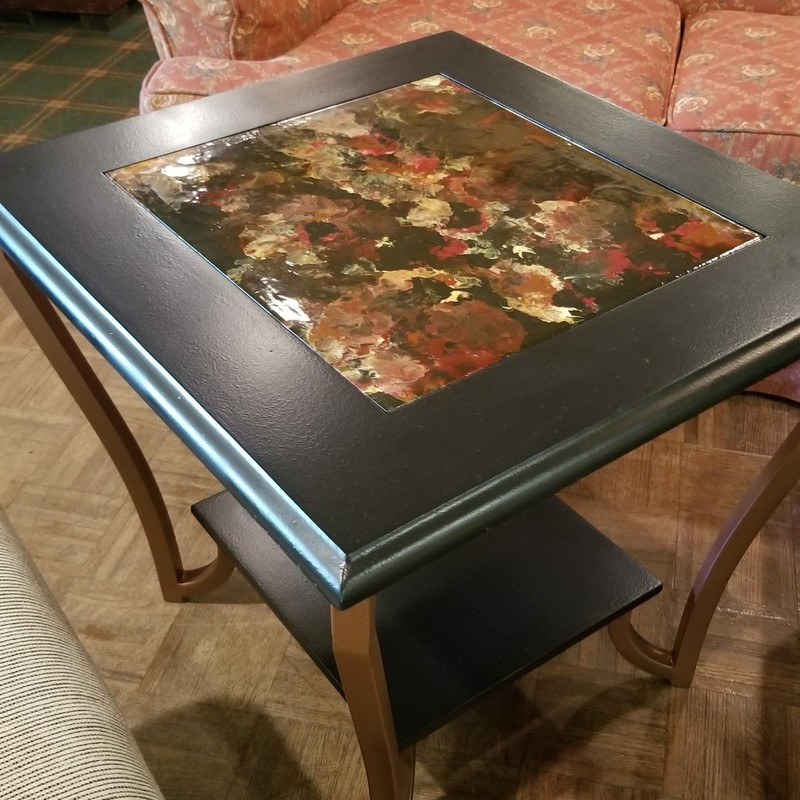 "One of a Kind Hand Painted End Table, ""Black w/ Rich Multi Color Tones"""