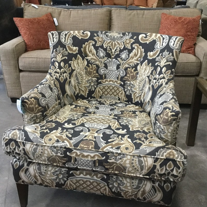 Mitchell Gold Armchair, Upholstered, Black & Gold, 2 Available