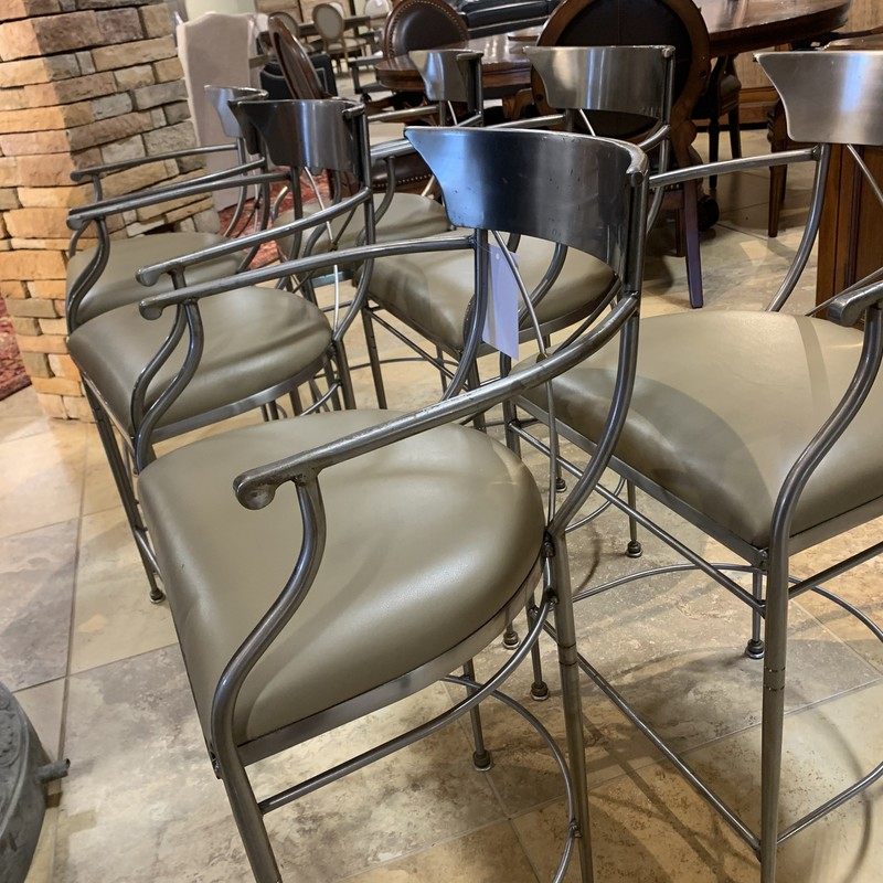 S/6 Silver Metal Barstool, G15, Size: IHH