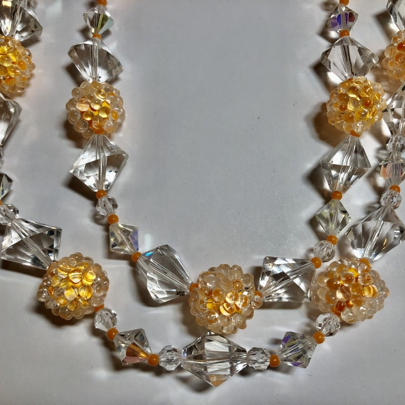 Lucite & Bead Necklace with clear lucite & orange beads. Two-Strand c.1940s.