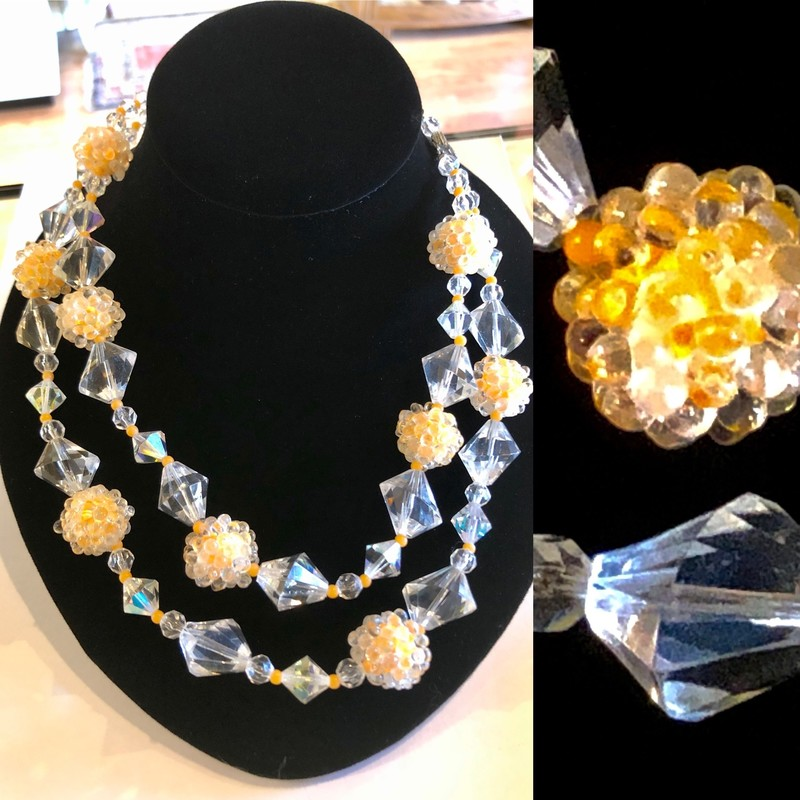 Lucite & Bead Necklace.