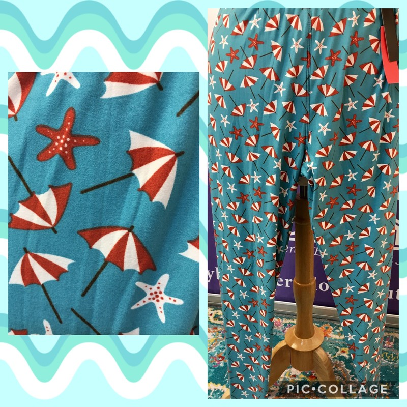Red and white starfish and beach umbrellas on a background of vivid turquoise.<br /> Size: One Size (14-18)<br /> 92% Polyester 8% Spandex