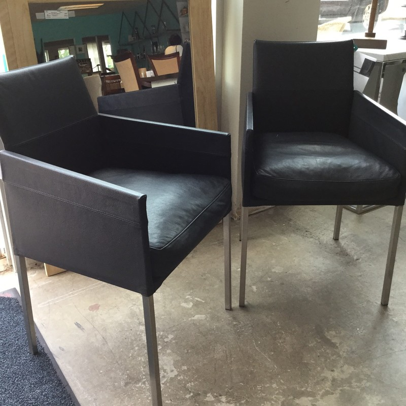 KFF Leather Arm Chair, Black Leather, Stainless Legs, 2 Available