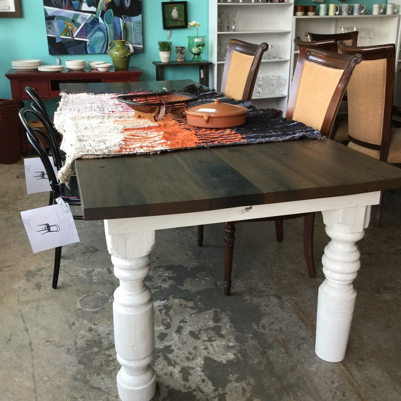 "Reclaimed Beetle Wood Farm Table, Dark Wood Top, Milkwash Legs, Size: 108""X41""X30"""