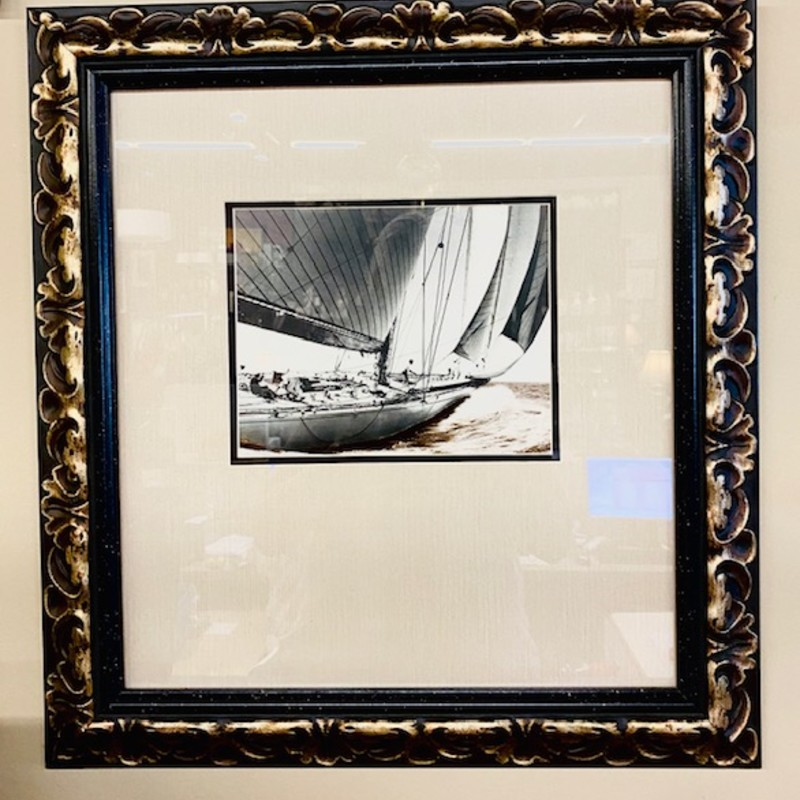 "Matted Sailboat  Ornate Frame<br /> Black White Gold, Size: 22"" X 23""H"