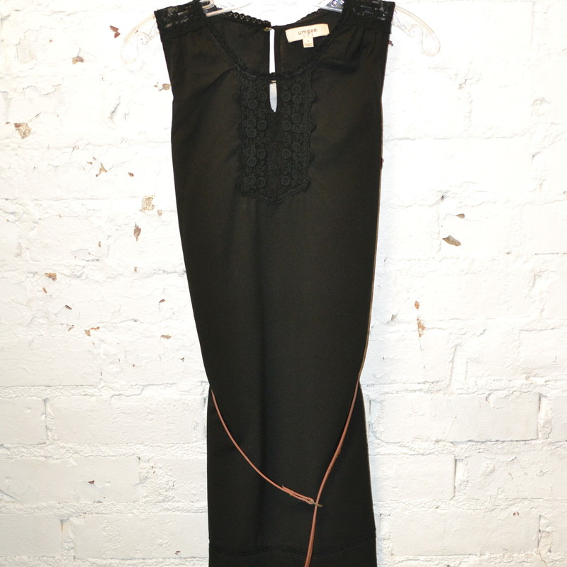 -Umgee<br /> -Black dress<br /> -Lace along the top<br /> -Brown belt<br /> -Size small