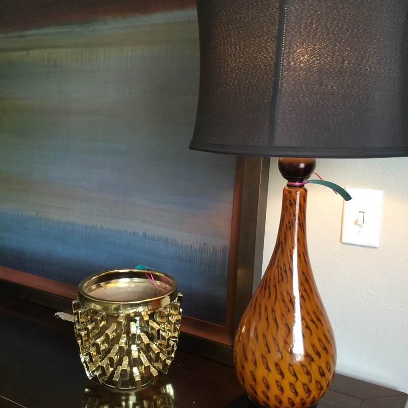 Blown Glass Lamp, Amber, Black Shade, Size: 32""