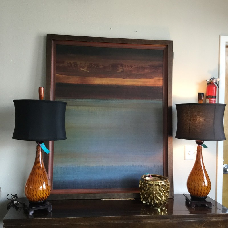 "Blown Glass Lamp, Amber, Black Shade, Size: 32"", 2 Available"