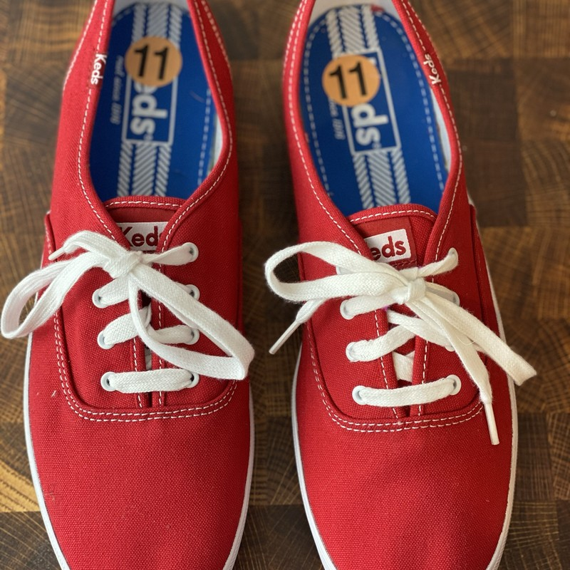 Red Canvas Keds, Red, Size: 11