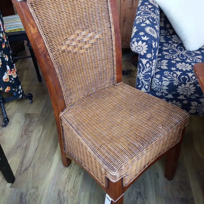 Wicker And Wood Chair