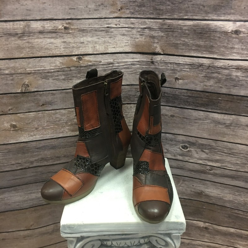 Patchwork Boots, Brown, Size: 7 7.5
