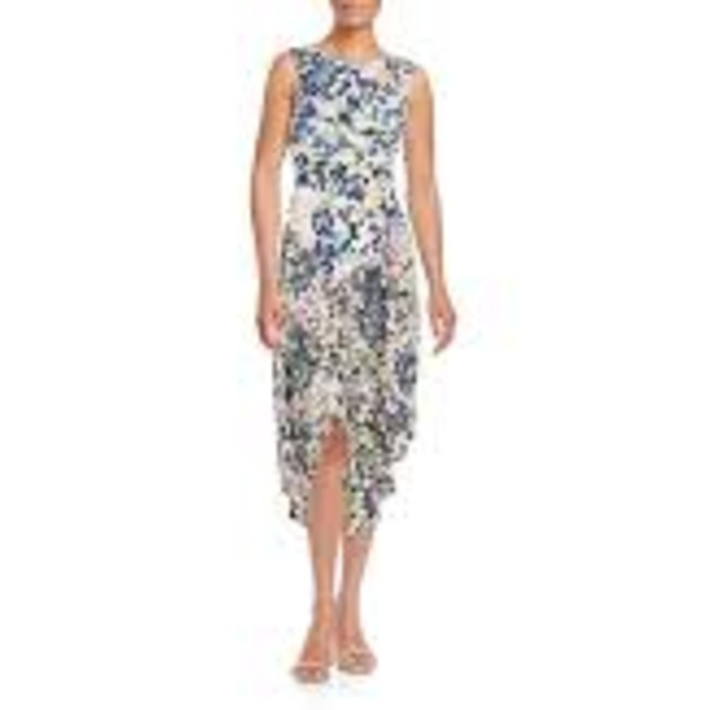 NWT BCBG  Ezra Draped Floral-print Dress high neck asymetrical hem floral dress sleeveless size XS retailed: $198