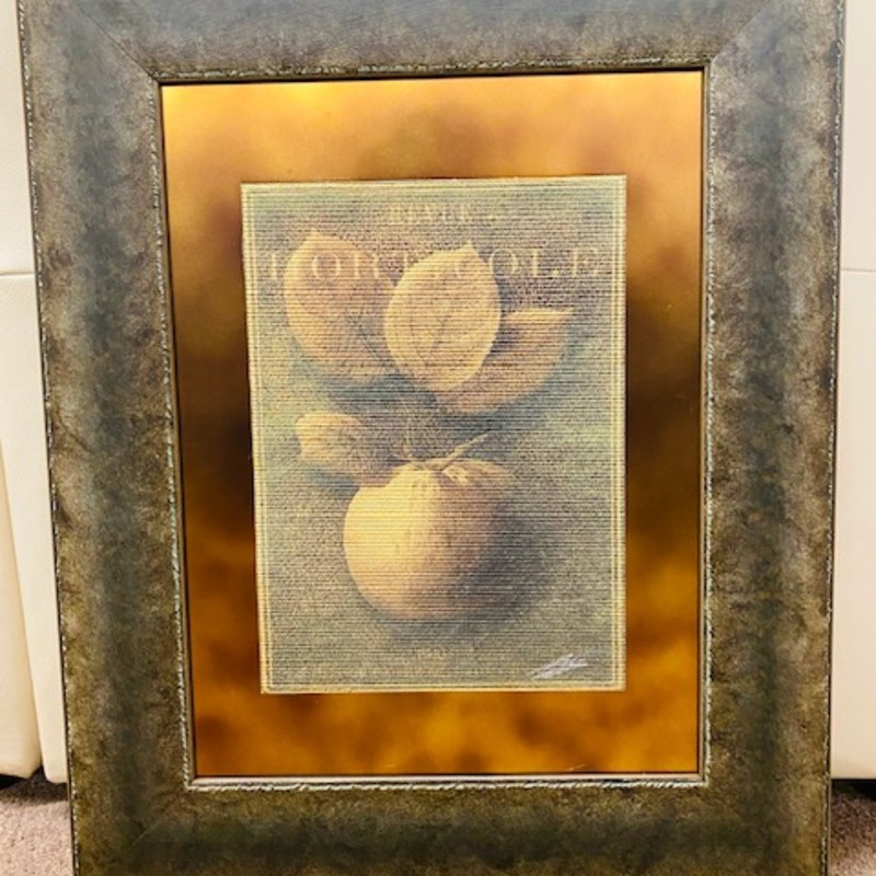 "Kinder & Harris Sepia Toned Fruit Print<br /> Brown Yellow Red Size 22"" X 27"""