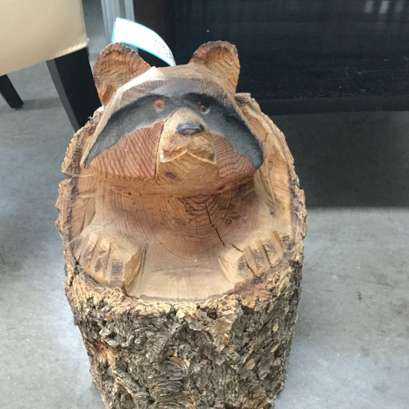 "Raccoon In A Log, Wood, Size: 18""H"