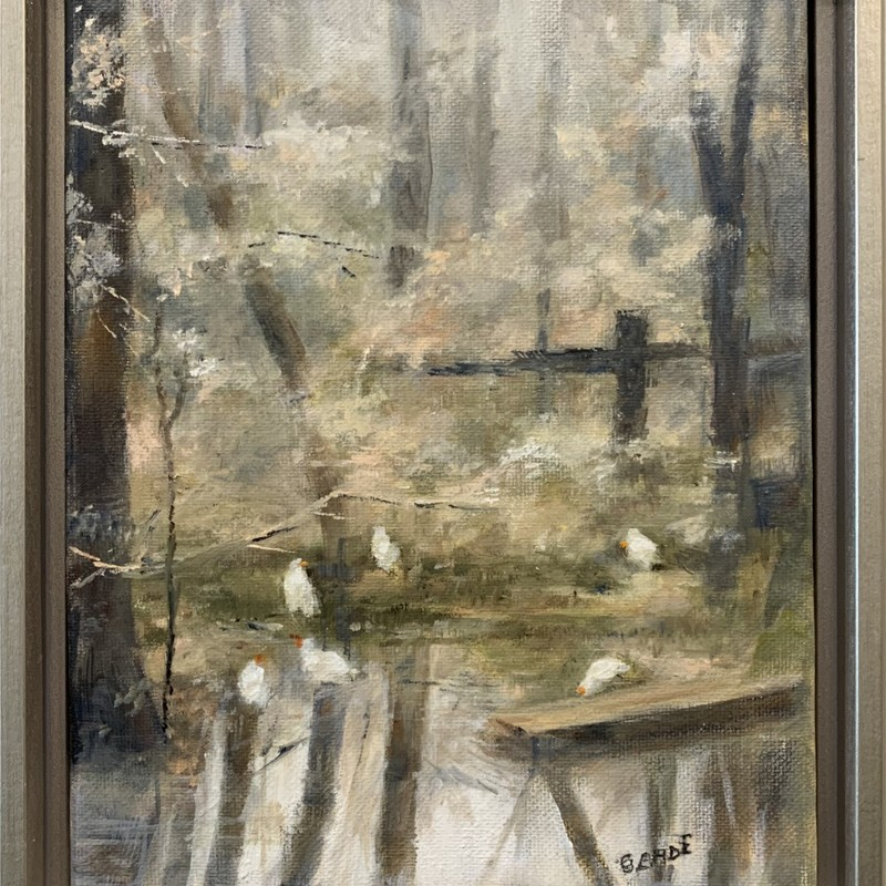 "Title: The Rookery, Artist: Sally Cade, Medium: Oil, Size: 9""x11\"" Framed"