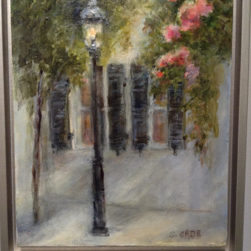 "Title: Twilight Time in Charleston, Artist: Sally Cade, Medium: Oil, Size: 9""x11\"" Framed"