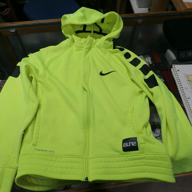 Nike Elite Dri-Fit YOUTH zip up hoodie neon yellow size M 100% polyester #22213<br /> Rating: (see below) 4- Fair Condition<br /> Team: n/a<br /> Player: n/a<br /> Brand: Nike Elite<br /> Size: Youth medium (Chest: 19&quot; x Length: 20&quot;;) measured flat - armpit to armpit and shoulder to hem<br /> Color: neon yellow with black accents<br /> Style:  long sleeve; screen printed; zip up<br /> Material: 100% Polyester<br /> Condition: 4- Fair Condition;  wrinkled; some pilling and fuzz; material is stretched and worn from wearing and washing; some fading and discoloration; dirt stains on ends of both sleeves; 1 inch dirt stain on right chest; small, dark stain on back of left sleeve; loose thread on back of neck; multiple small brown spots on both sleeves (see photos)<br /> Item #: 22213<br /> Shipping: FREE