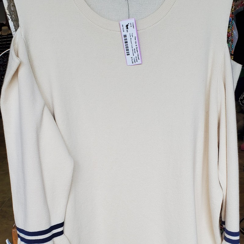 Lane Bryant Cold Shoulder Sweater, Beige and Navy , Size: 18/20W