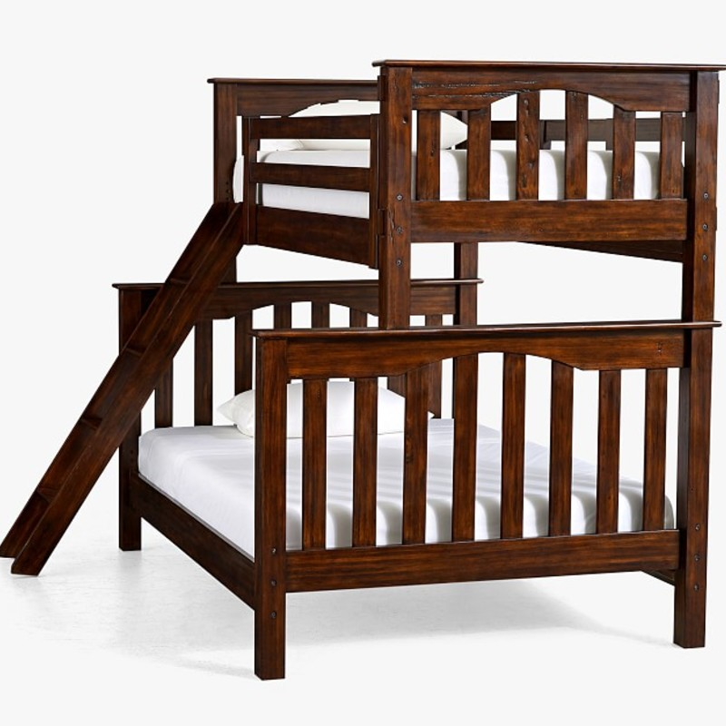 Bed Bunk Pottery Barn, Wood, Size: Full over Twin,<br /> 2 Ladders.<br />                        Similar to photo shown.