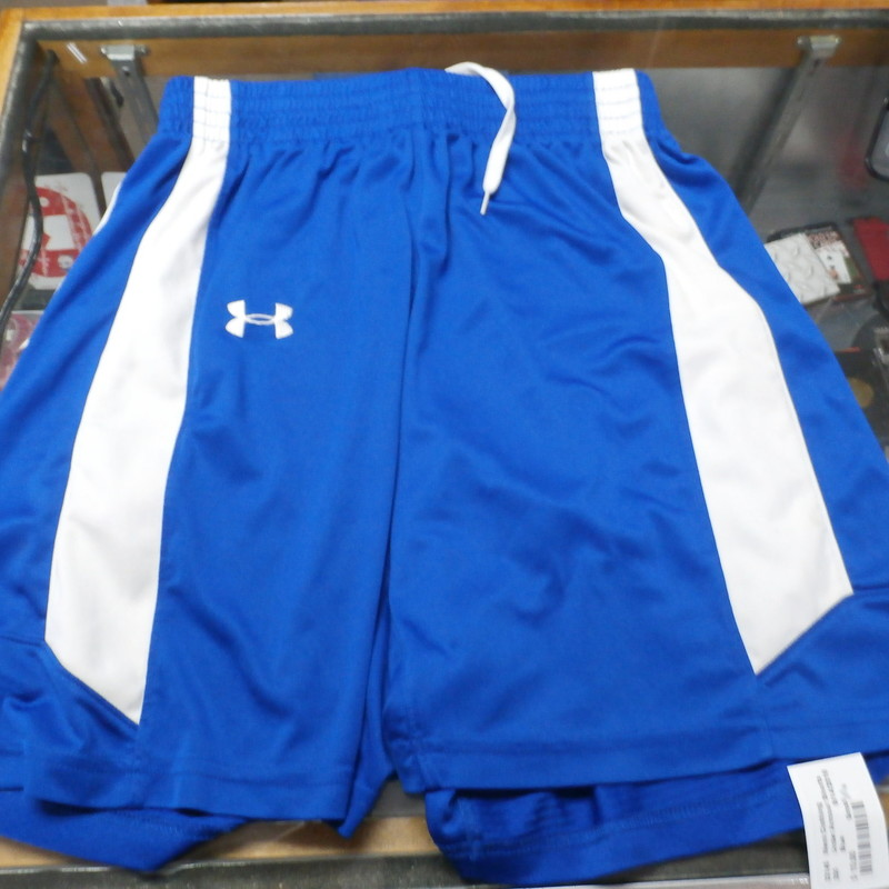 "Under Armour athletic shorts blue size small 100% polyester #22145<br /> Rating: (see below) 2- Great Condition<br /> Team: n/a<br /> Player: n/a<br /> Brand: Under Armour<br /> Size: Men's- Small-  (Measured Flat: Waist 13.5""; Length 18.5""; Inseam 8"")<br /> Measured flat: hip to hip; hip to hem; and groin to hem<br /> Color: blue with white accents<br /> Style: athletic shorts; elastic waistband with drawstring<br /> Material: 100% polyester<br /> Condition: 2- Great Condition;  wrinkled; some pilling and fuzz; material is worn from wearing and washing; some discoloration and fading; material feels fresh and new (see photos)<br /> Item #: 22145<br /> Shipping: FREE"