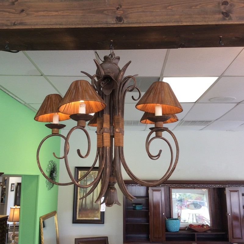 This chandelier is so cool! It features 5 curvy metal arms and reed shades. It definitely has a tiki bar, cabana, outdoor feel to it. Priced well too!