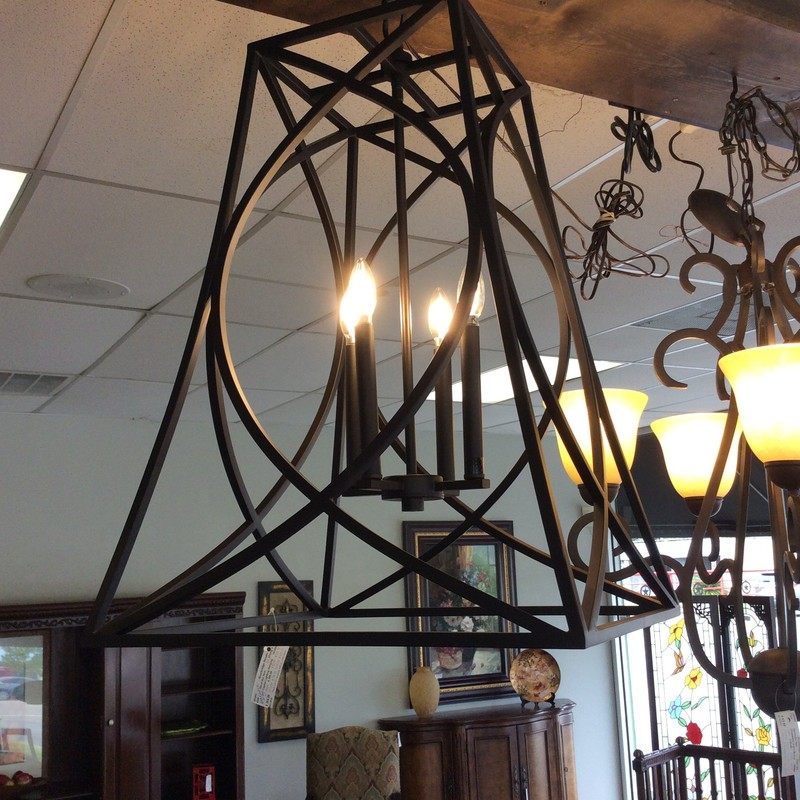 We have another brand spanking new, hanging light fixture in the store! This one is from CAPITAL LIGHTING and is made entirely of metal, and has a soft black, matte finish. There are 4 candelabra lights in the center. Only $265!