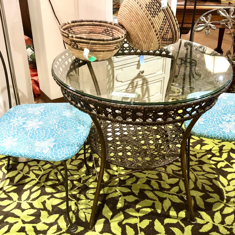 Wicker Table & 2 Chairs with Iron Base