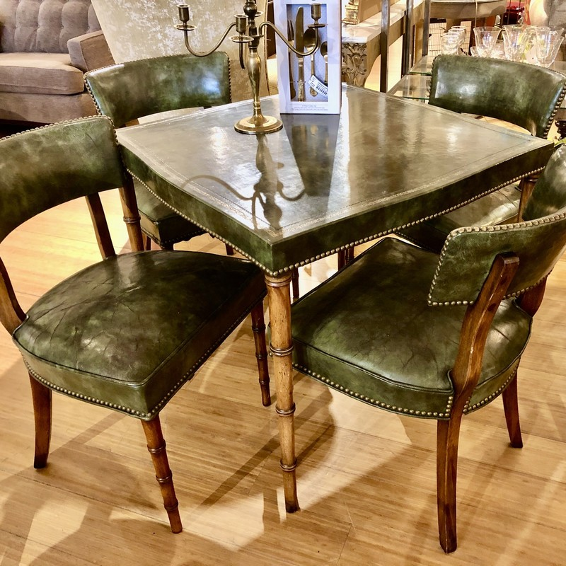 Table 4 Chairs Faux Bamboo Legs, Green, Size: 5 Pcs<br /> Barnard & Simonds - Vintage