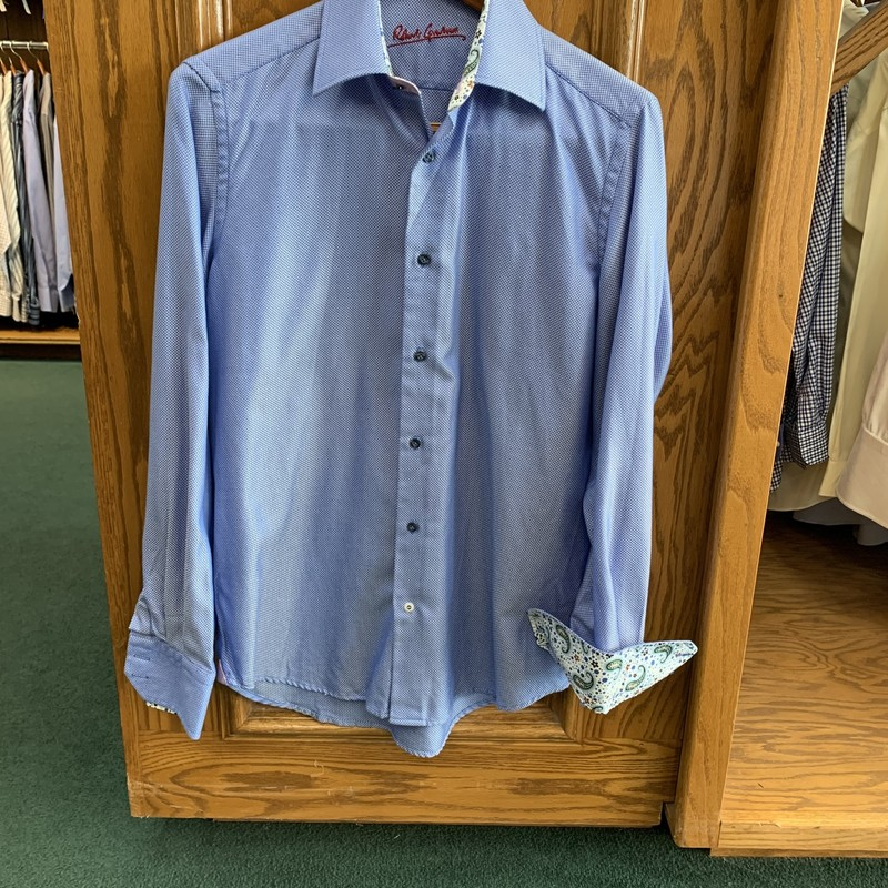 ** Robert Graham **<br /> Color: Blue Herringbone w/ white paisley cuffs<br /> Size: Small<br /> Condition: Excellent