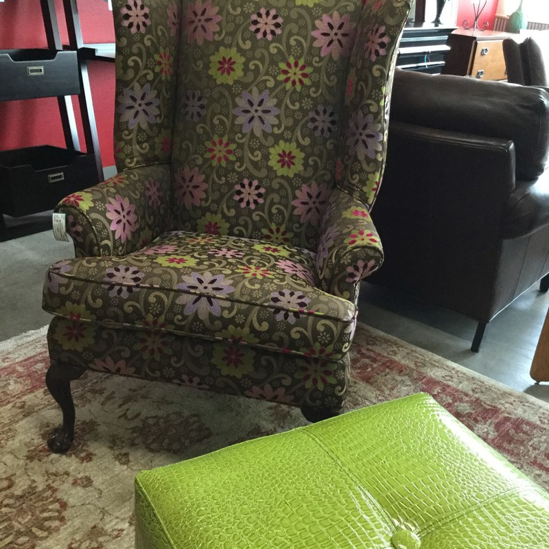 Flowered Wing Chair, Tan, Green & Purple, 2 Available