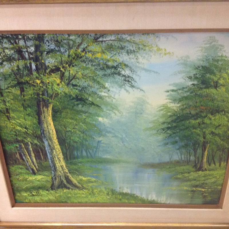 Forest Oil Painting, Gold, Size: 32x28