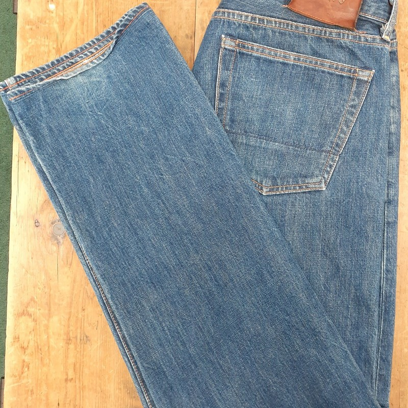 Jean Shop NYC w/ button fly<br /> Color: Denim<br /> Size: 32W 34L<br /> Condition: Excellent
