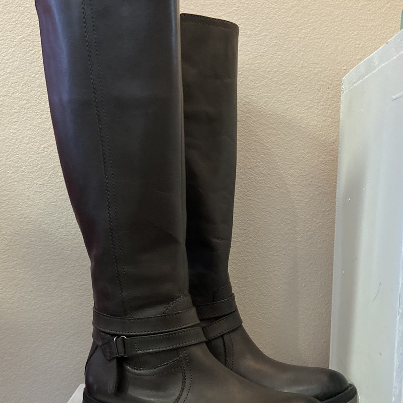 Grey Leather Tall Boots.