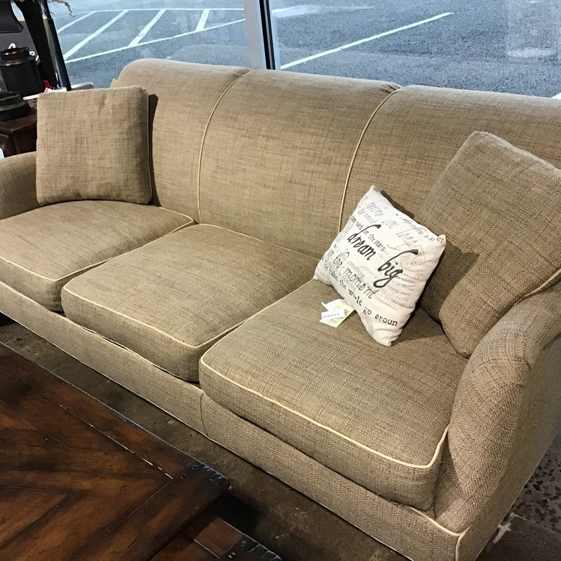 "This super neutral 3 cushion sofa from Arhaus features flippable seat cushions and accent trim. It is upholstered in a beautifu cream & tan fabric and the back is nice & high for ultimate TV watching! Sofas at Arhaus retail for over $3000, so this one is a great bargain!<br /> Dimensions are 84"" x 40"" x 33"""