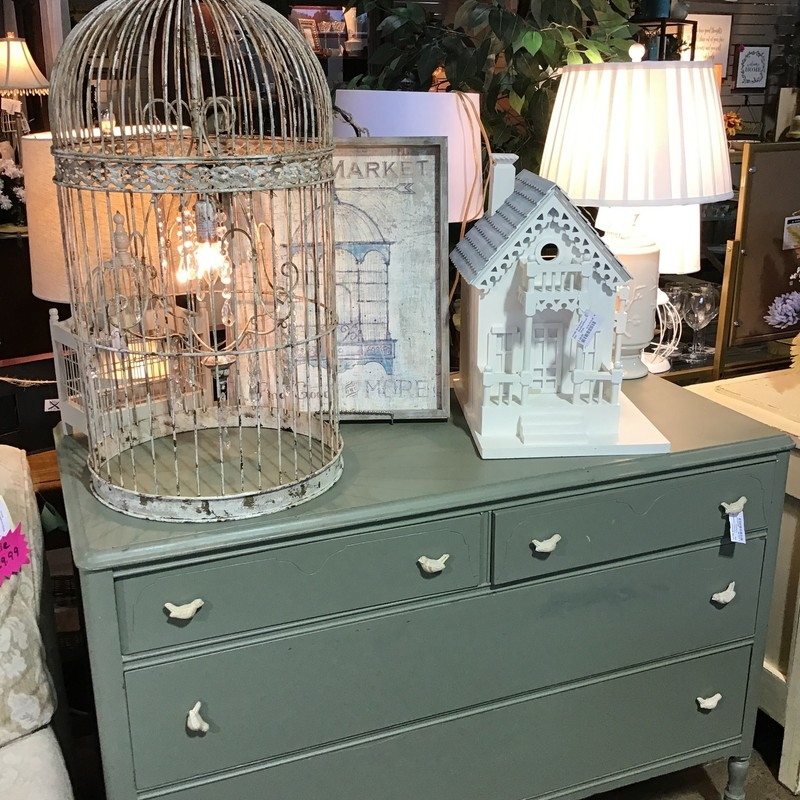 "This cute turquoise dresser was painted by the original owner and she added some cute bird knobs! It has 4 drawers and would be a great accent piece in any bedroom!<br /> Dimensions are 48"" x 23"" x 34"""