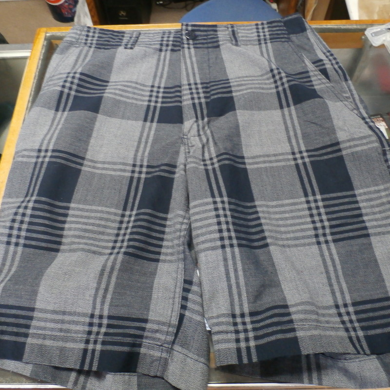 Champs Sports Gear shorts gray plaid size 32 polyester/rayon blend #22067<br /> Rating: (see below) 3- Good Condition<br /> Team: n/a<br /> Player: n/a<br /> Brand: Champs Sports<br /> Size: Men&#039;s 32 -  (Measured Flat: Waist 17&quot;; Length 22&quot;; Inseam 10&quot;)<br /> Measured flat: hip to hip; hip to hem; and groin to hem<br /> Color: gray plaid<br /> Style: shorts; zipper fly with button<br /> Material: 65% polyester 35% rayon<br /> Condition: 3- Good Condition;  wrinkled; some pilling and fuzz; material is stretched and worn from wearing and washing; some discoloration and fading; material feels good (see photos)<br /> Item #: 22067<br /> Shipping: FREE