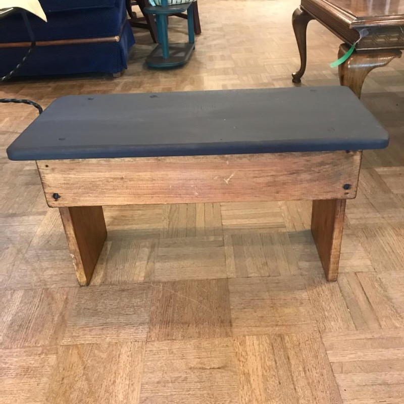 "Two Tone Small Bench<br /> Navy top and stained bottom<br /> 14"" wide x 12"" tall x 10"" deep<br /> <br /> This stool will be perfect for a seat or your feet!"