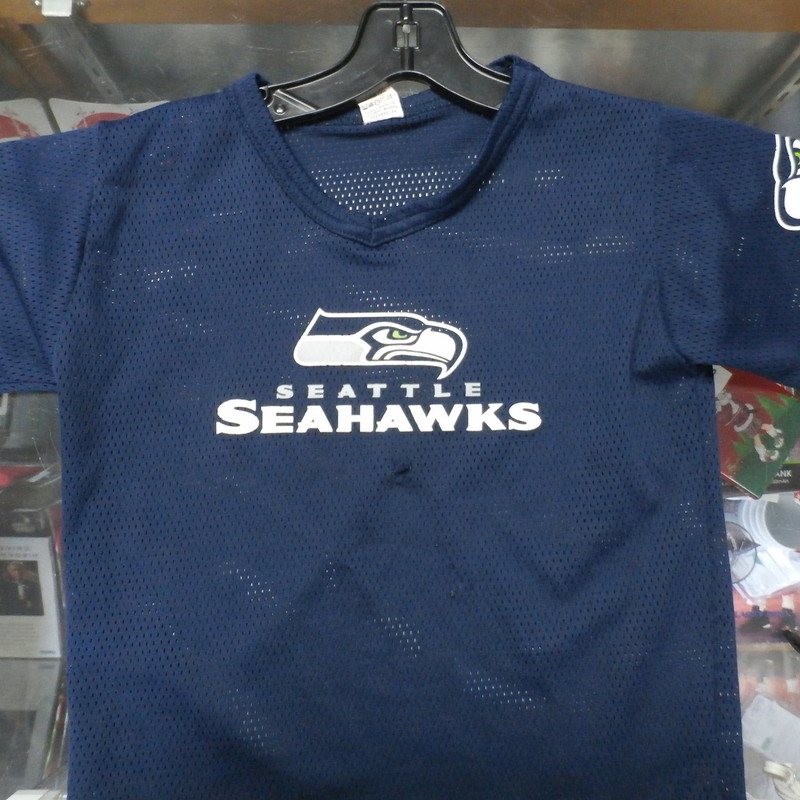 Seattle Seahawks YOUTH Franklin jersey blue size Small 100% polyester #22273<br /> Rating: (see below) 4- Fair Condition<br /> Team: Seattle Seahawks<br /> Player: Team<br /> Brand: Franklin<br /> Size : YOUTH Small- (Measures Chest 16&quot; ; Length 17.5&quot;) armpit to armpit; shoulder to hem<br /> Color: blue<br /> Style: short sleeve; screen printed<br /> Material: 100% polyester<br /> Condition: 4- Fair Condition; wrinkled; some pilling and fuzz; material is slightly stretched and worn from wearing and washing; half inch hole in front just beneath the screen printing, with a series of small snags just beneath the hole (see photos)<br /> Item #: 22273<br /> Shipping: FREE