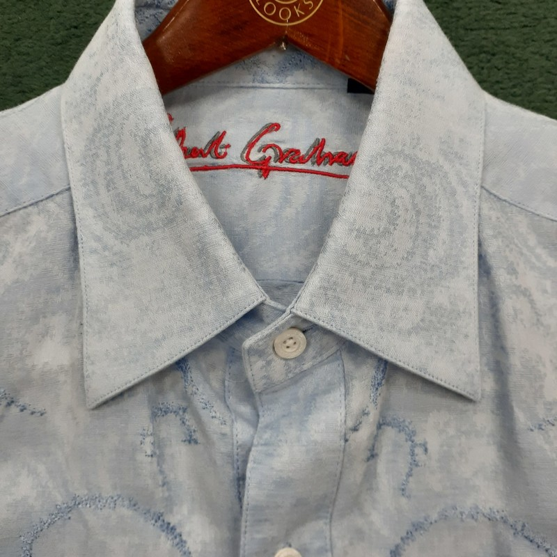 Beautiful Robert Graham with embroidery detail<br /> Color: Light Blue<br /> Size: Large<br /> Condition: Excellent