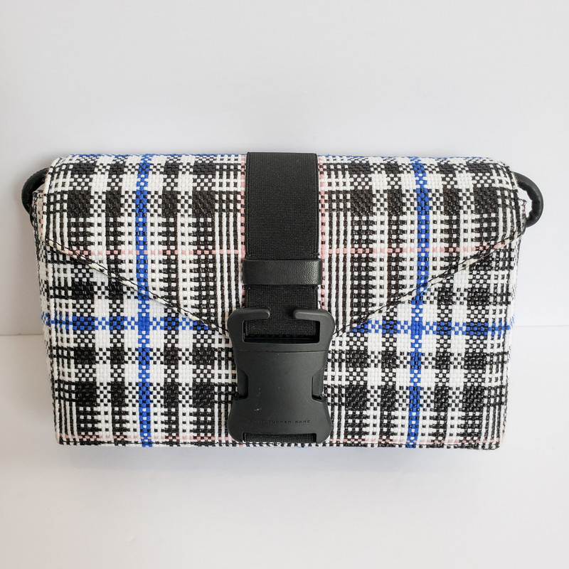 Christopher Kane<br /> Original Retail $792<br /> White Black and Blue Plaid<br /> Crossbody