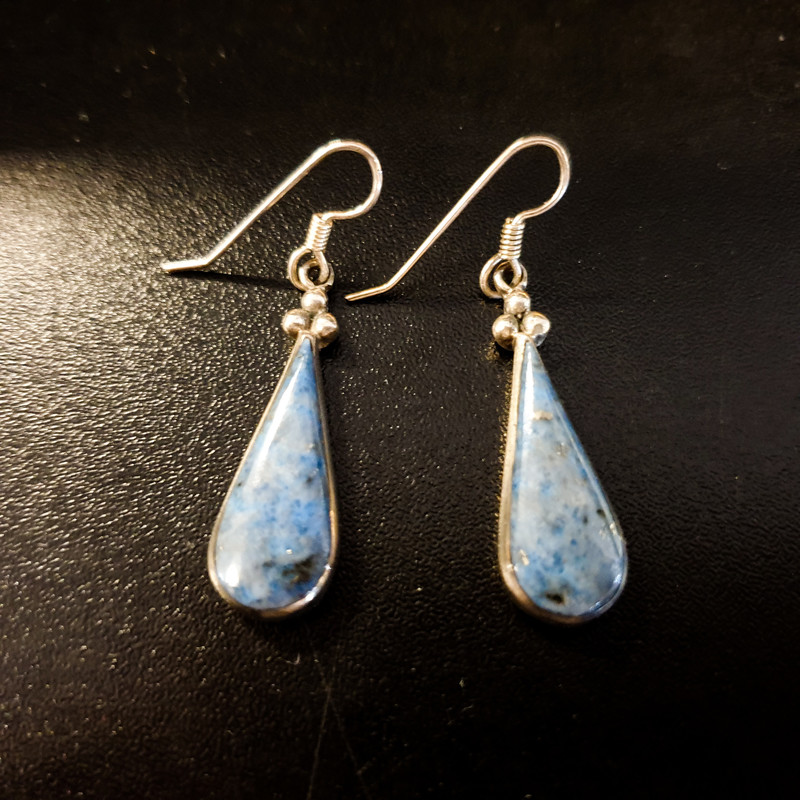 Beautiful Tear Drop Earrings.<br /> - Silver-tone frame<br /> - Blue tear drop stone<br /> - Length: 1.5 in.<br /> <br /> * Please note that these measurements and pictures are for reference only and may vary slightly from the original.