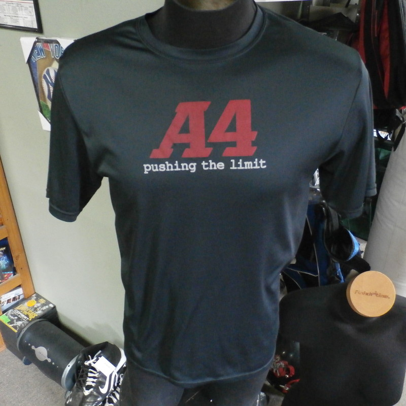 A4 &quot;Pushing The Limit&quot; T-shirt black size medium 100% polyester #22010<br /> Rating: (see below) 3- Good Condition<br /> Team: n/a<br /> Player: n/a<br /> Brand: A4<br /> Size : Men&#039;s Medium- (Measures Chest 20&quot; ; Length 26&quot;) armpit to armpit; shoulder to hem<br /> Color: black<br /> Style: short sleeve; screen printed<br /> Material: 100% polyester<br /> Condition: 3- Good Condition; wrinkled; some pilling and fuzz; material is stretched and worn from wearing and washing; no rips, stains, or tears; material feels good; screen printing is somewhat faded and cracked (see photos)<br /> Item #: 22010<br /> Shipping: FREE
