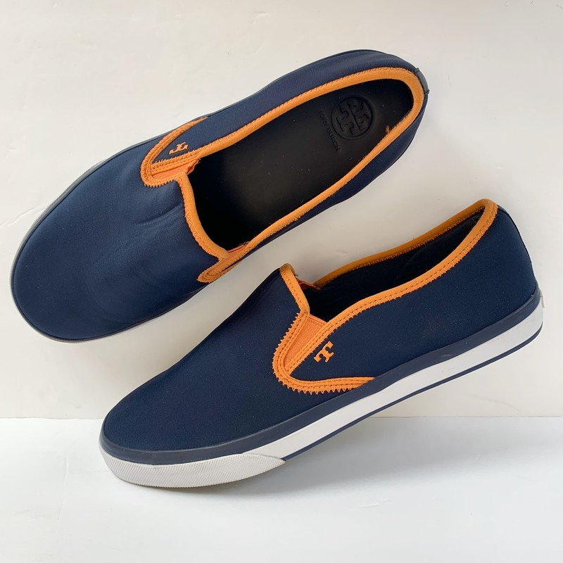 Tory Burch Slip-On Sneakers<br /> Navy & Orange<br /> Size: 11