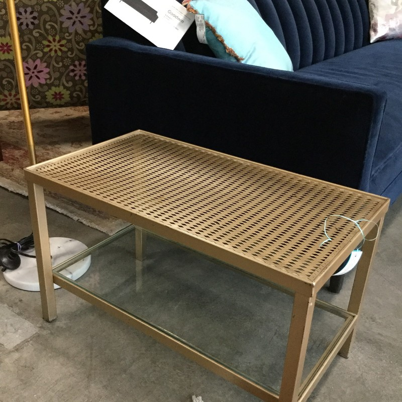 "Gold Coffee Table, Gold, Size: 27""X15""X16"""